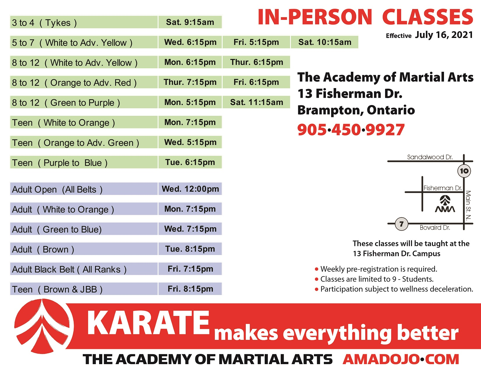 In person martial arts karate classes in Brampton North