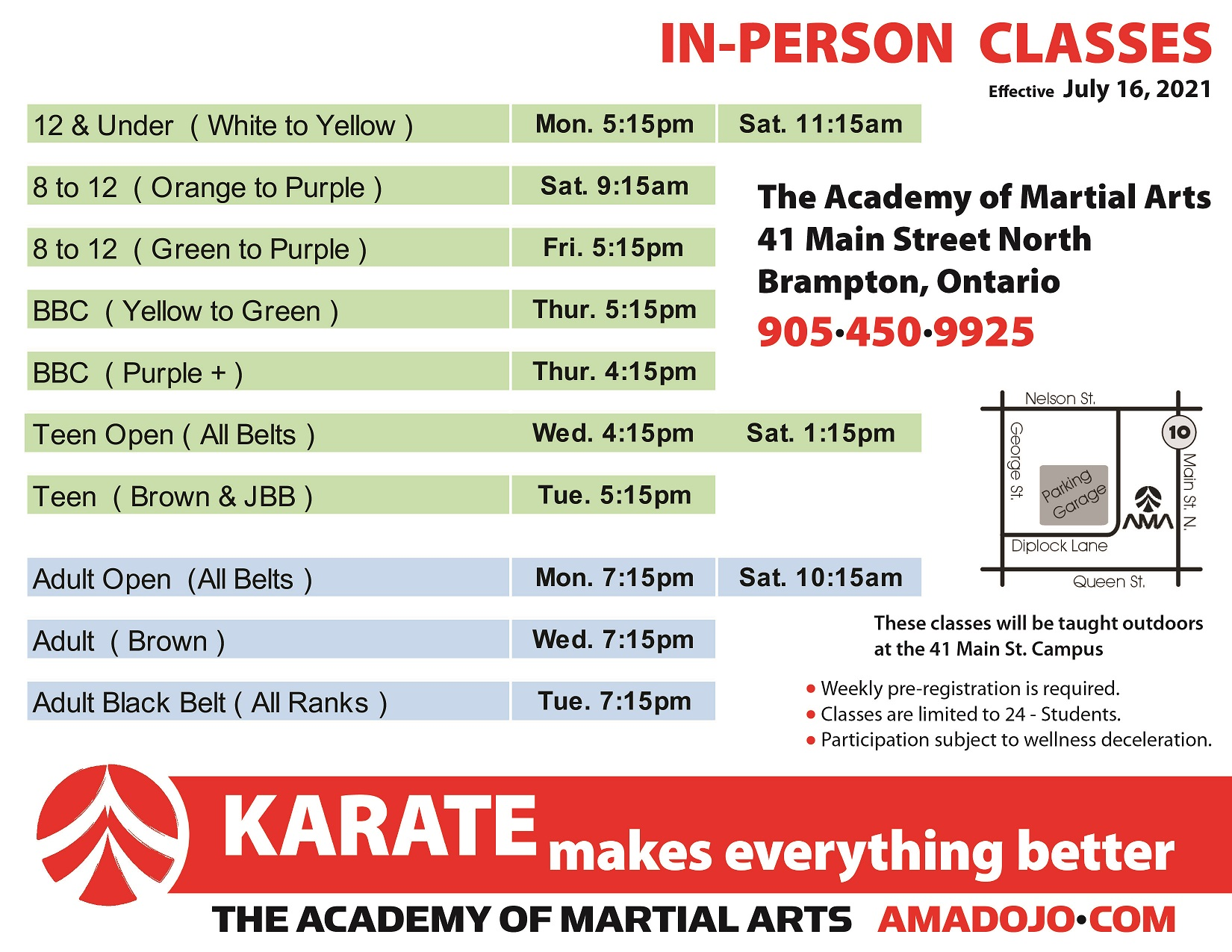 in person outdoor martial arts karate classes in downtown brampton